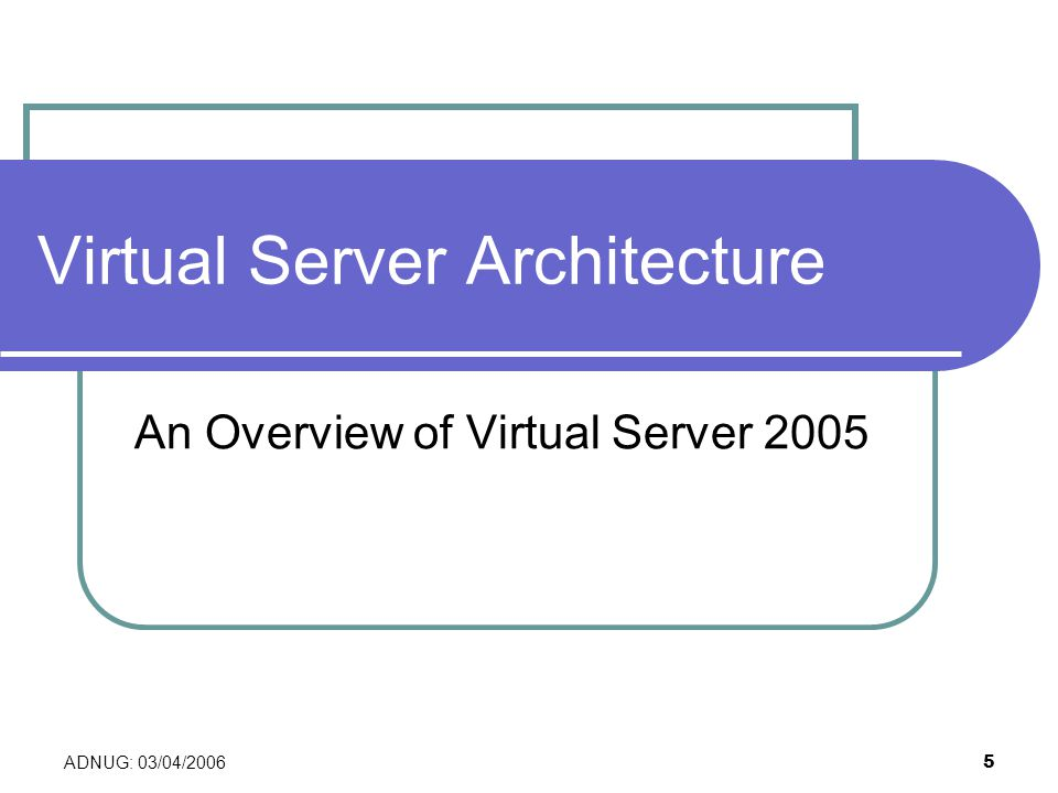 ADNUG: 03/04/2006 5 Virtual Server Architecture An Overview of Virtual Server 2005