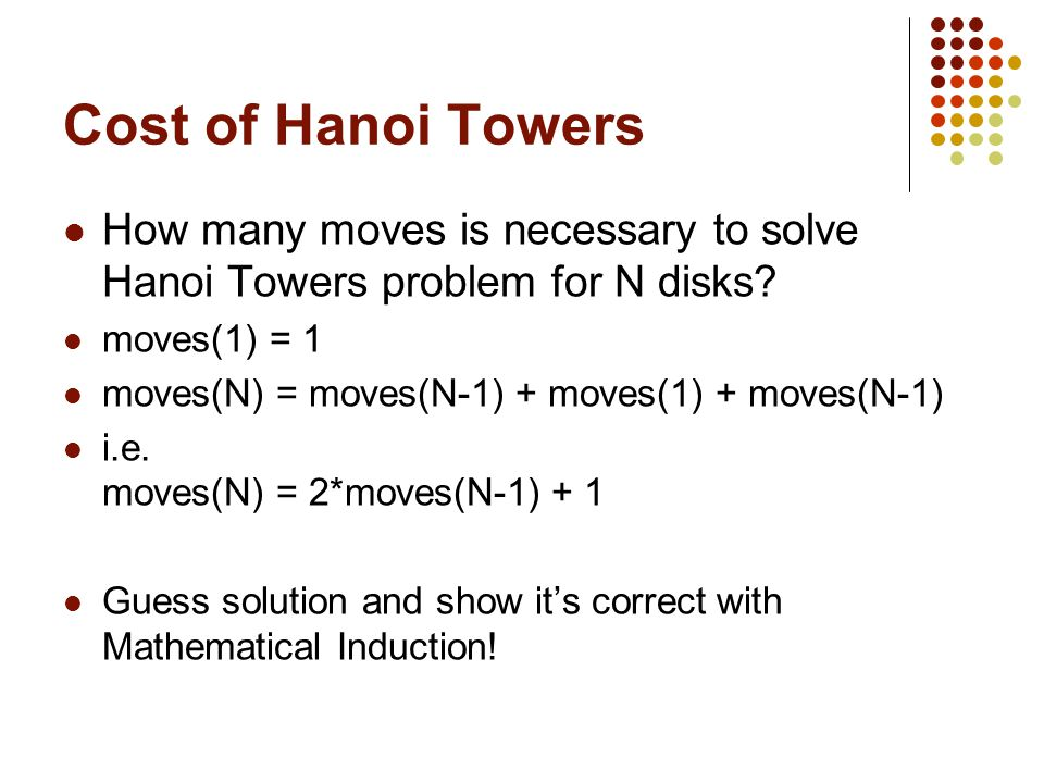 Cost of Hanoi Towers How many moves is necessary to solve Hanoi Towers problem for N disks.