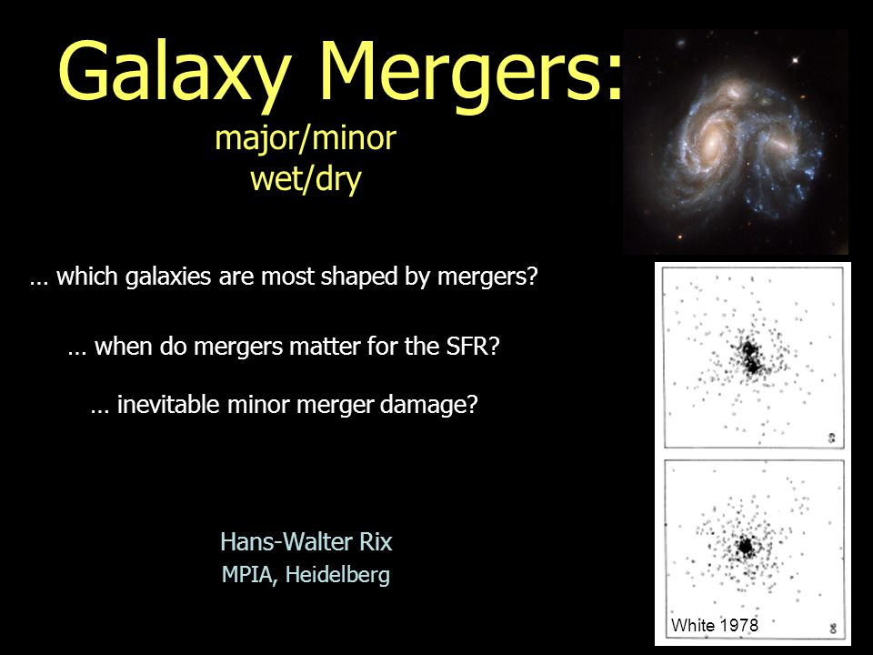 Galaxy Mergers: major/minor wet/dry Hans-Walter Rix MPIA, Heidelberg … which galaxies are most shaped by mergers.