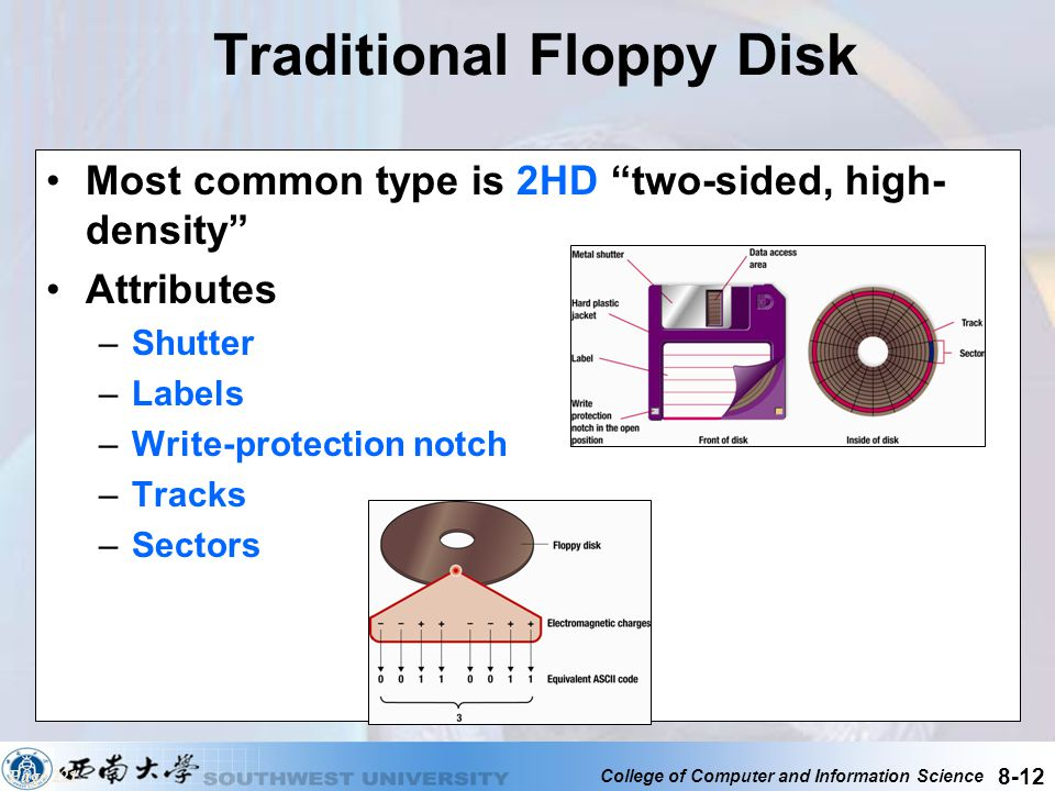 College of Computer and Information Science 8-12 Traditional Floppy Disk Most common type is 2HD two-sided, high- density Attributes –Shutter –Labels