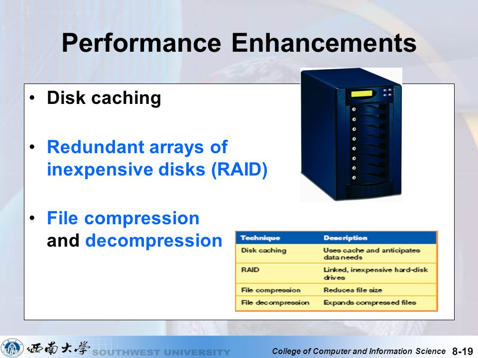 College of Computer and Information Science 8-19 Performance Enhancements Disk caching Redundant arrays of inexpensive disks (RAID) File compression a