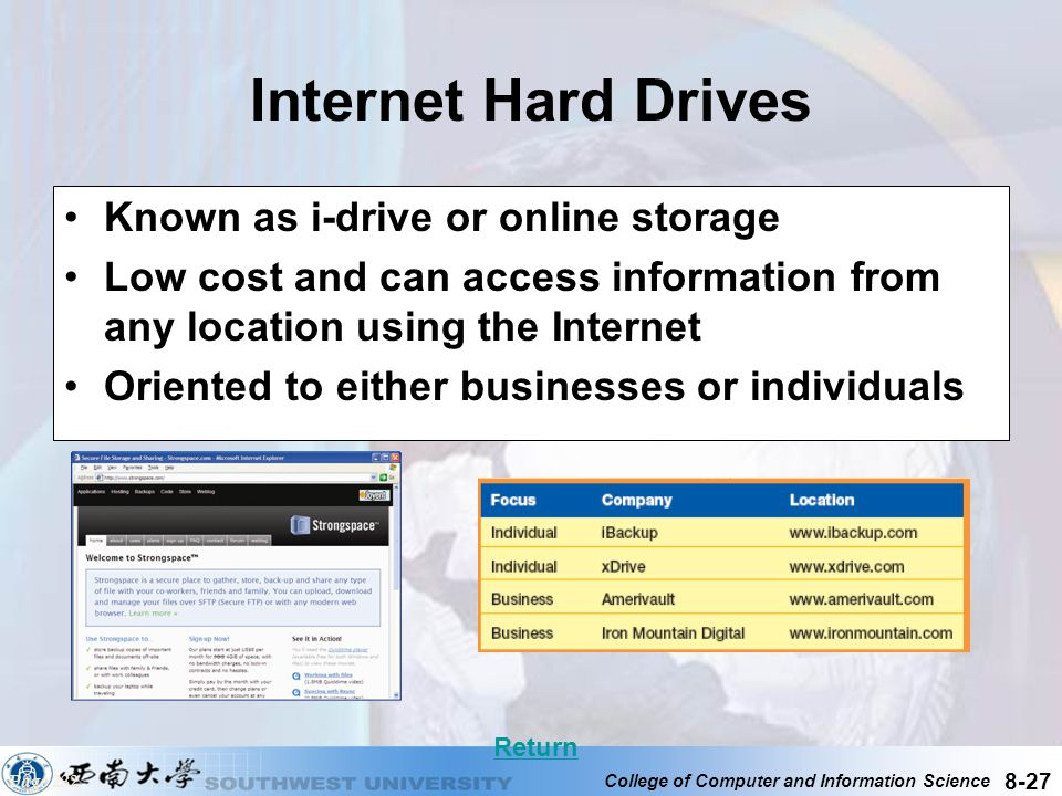 College of Computer and Information Science 8-27 Internet Hard Drives Known as i-drive or online storage Low cost and can access information from any