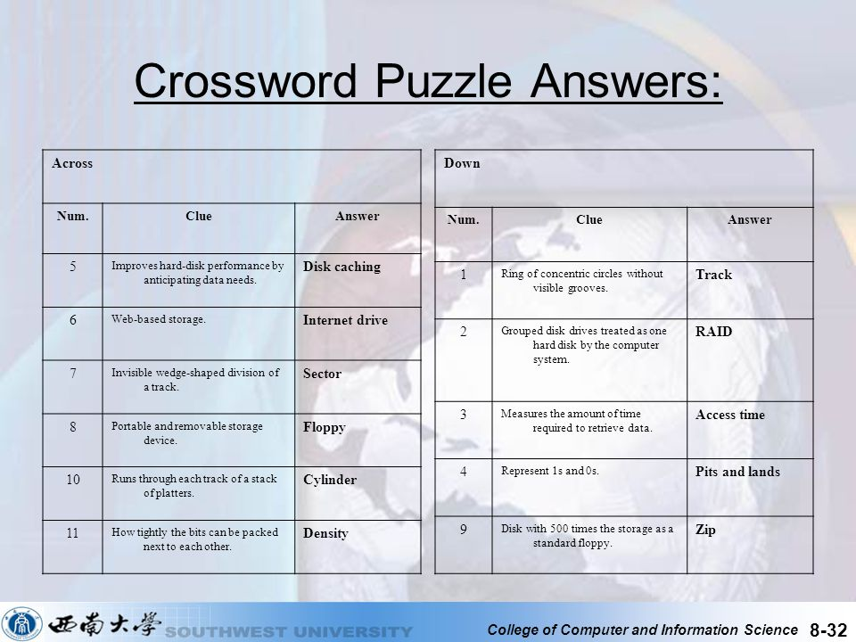 College of Computer and Information Science 8-32 Crossword Puzzle Answers: Across Num.ClueAnswer 5 Improves hard-disk performance by anticipating data