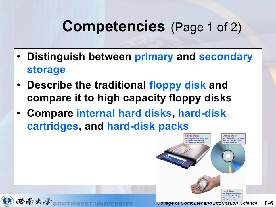 College of Computer and Information Science 8-7 Competencies (Page 2 of 2) Describe ways to improve hard-disk operations, including disk caching, redundant arrays of inexpensive disks, and data compression and decompression Discuss the different types of optical disks Describe solid-state storage, Internet drives, and magnetic tape Discuss mass storage and mass storage devices Page 218