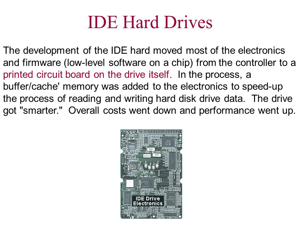 IDE Controller A much simpler board, commonly known as an IDE Controller, interfaced the IDE hard disk to the motherboard bus.
