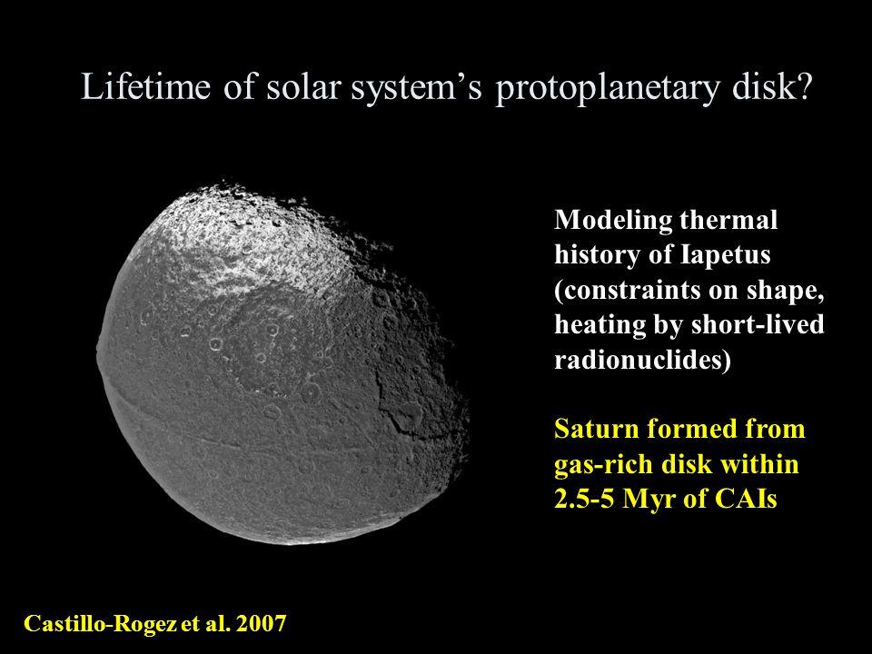 Lifetime of solar systems protoplanetary disk. Castillo-Rogez et al.