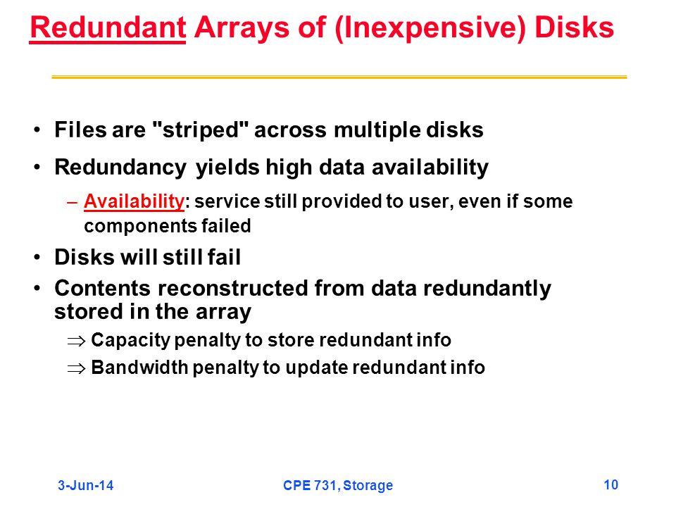 3-Jun-14CPE 731, Storage 10 Redundant Arrays of (Inexpensive) Disks Files are