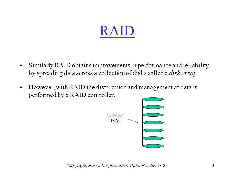 Copyright, Harris Corporation & Ophir Frieder, 19985 RAID Similarly RAID obtains improvements in performance and reliability by spreading data across a collection of disks called a disk array.