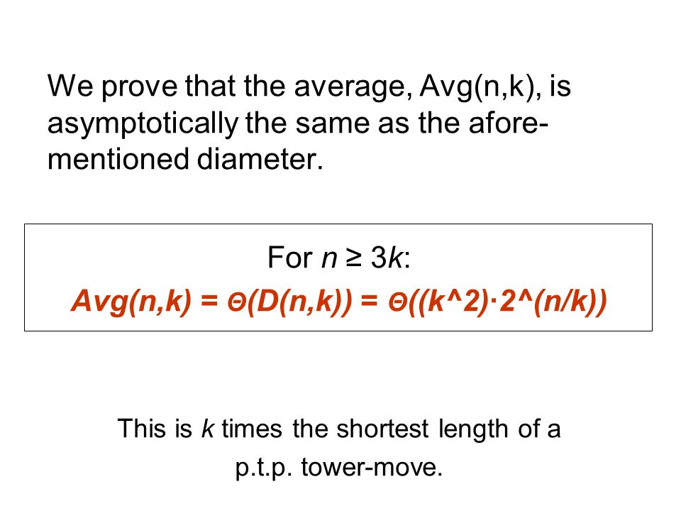We prove that the average, Avg(n,k), is asymptotically the same as the afore- mentioned diameter.