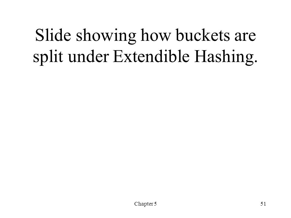 Chapter 551 Slide showing how buckets are split under Extendible Hashing.
