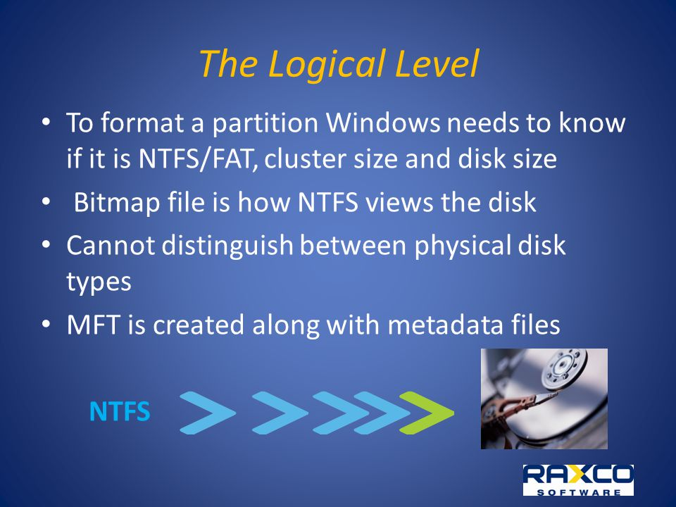 The Logical Level To format a partition Windows needs to know if it is NTFS/FAT, cluster size and disk size Bitmap file is how NTFS views the disk Cannot distinguish between physical disk types MFT is created along with metadata files NTFS