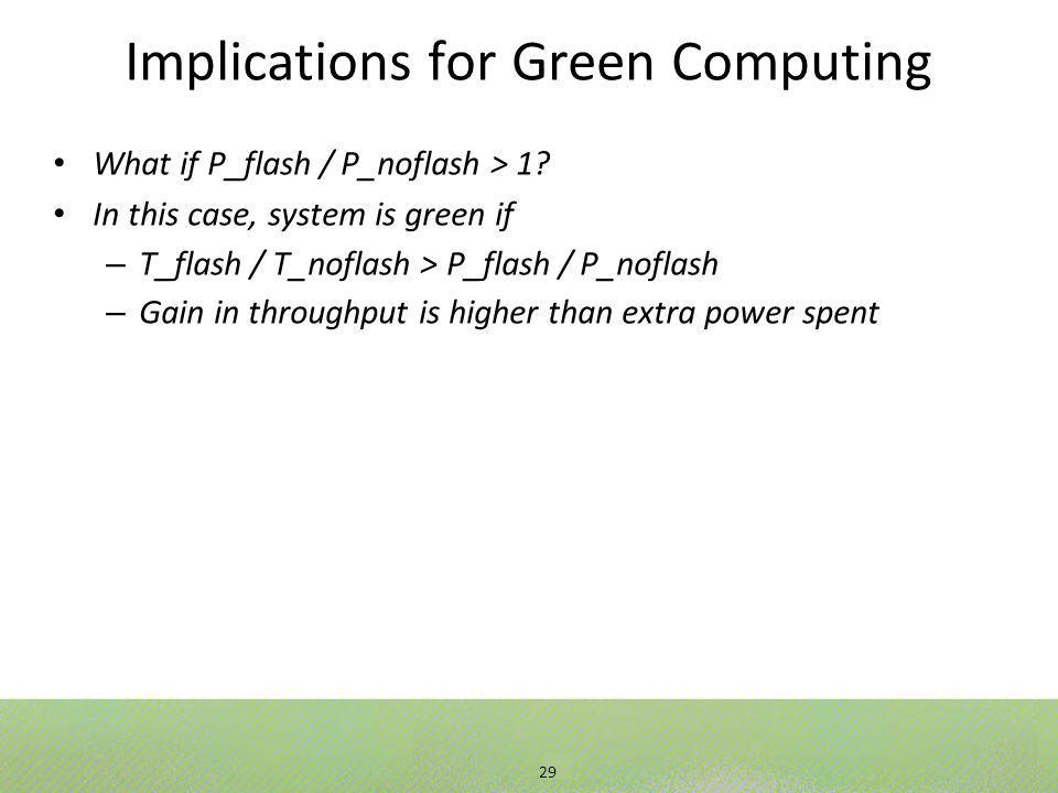 29 Implications for Green Computing What if P_flash / P_noflash > 1.