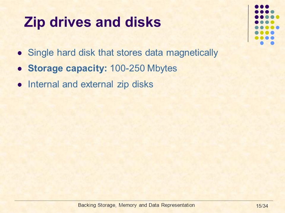 Backing Storage, Memory and Data Representation 15/34 Zip drives and disks Single hard disk that stores data magnetically Storage capacity: 100-250 Mb