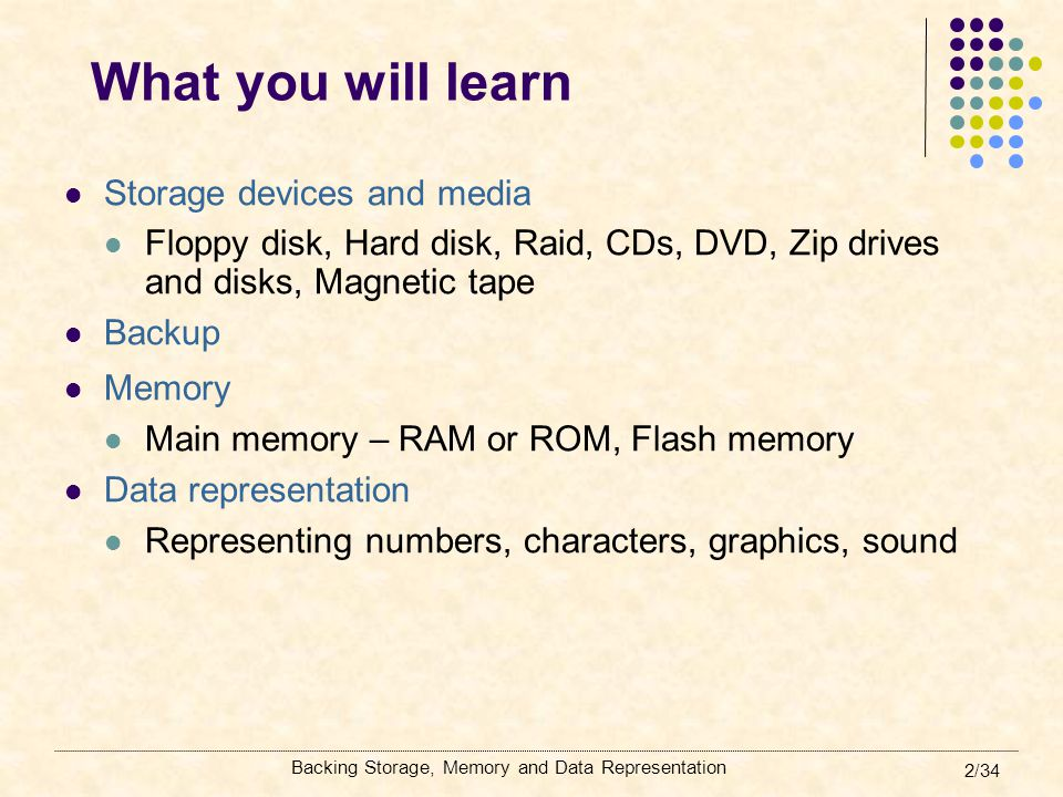 2/34 What you will learn Storage devices and media Floppy disk, Hard disk, Raid, CDs, DVD, Zip drives and disks, Magnetic tape Backup Memory Main memo