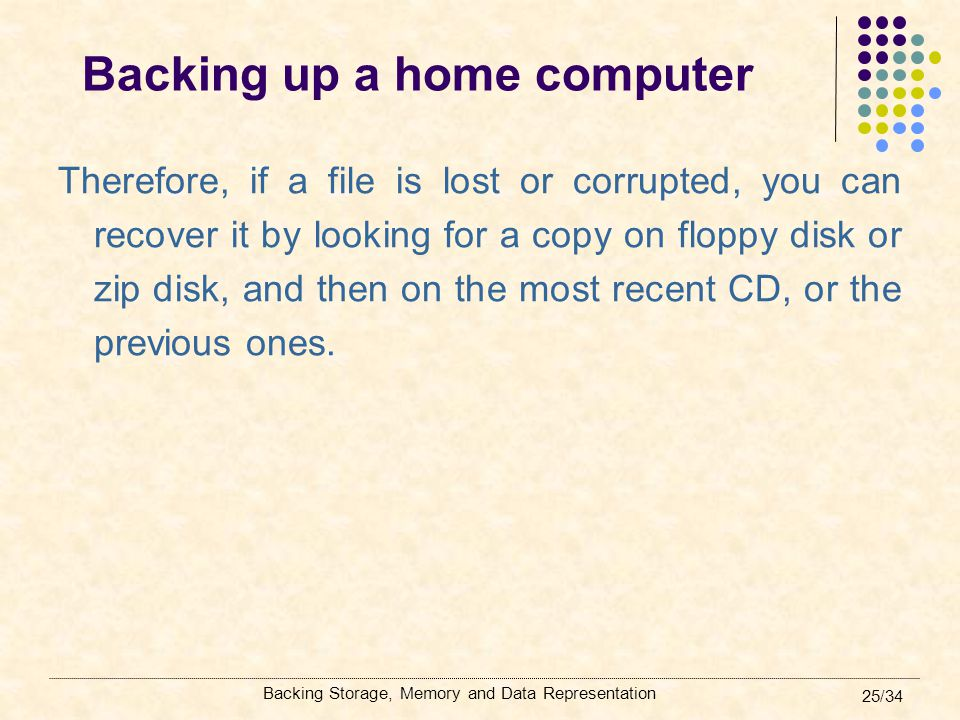 Backing Storage, Memory and Data Representation 25/34 Backing up a home computer Therefore, if a file is lost or corrupted, you can recover it by look