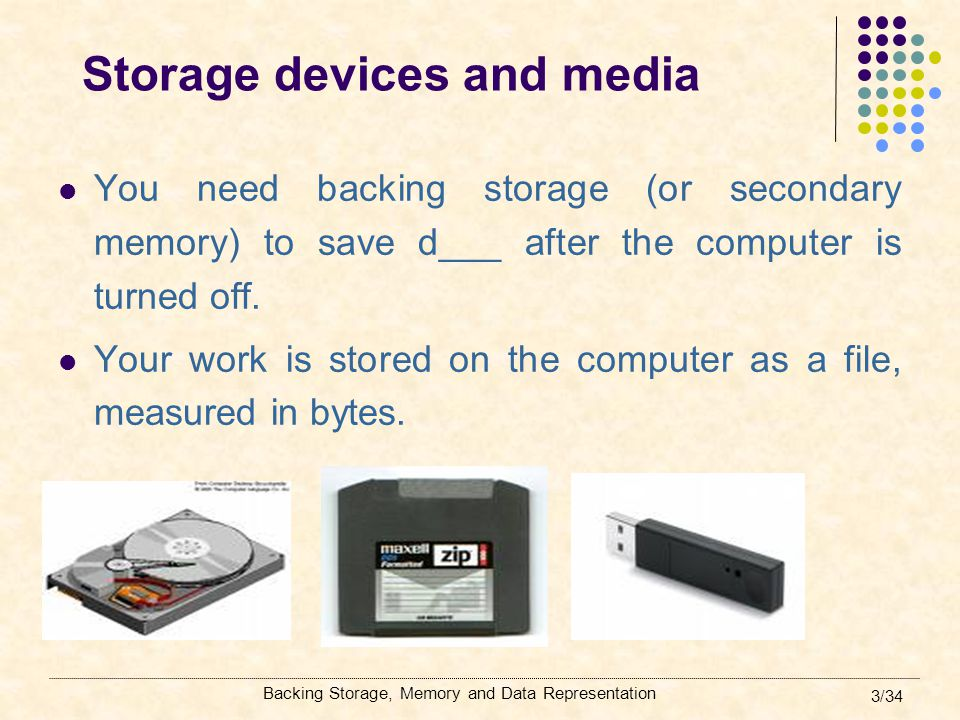 Backing Storage, Memory and Data Representation 24/34 Backing up a home computer Firstly back up your data on your hard disk Daily you can back up the data on a memory stick At set intervals back up these files to a CD-RW.