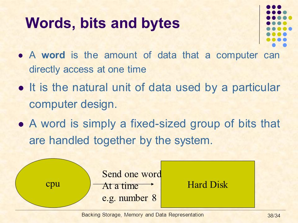 Backing Storage, Memory and Data Representation 38/34 Words, bits and bytes A word is the amount of data that a computer can directly access at one ti
