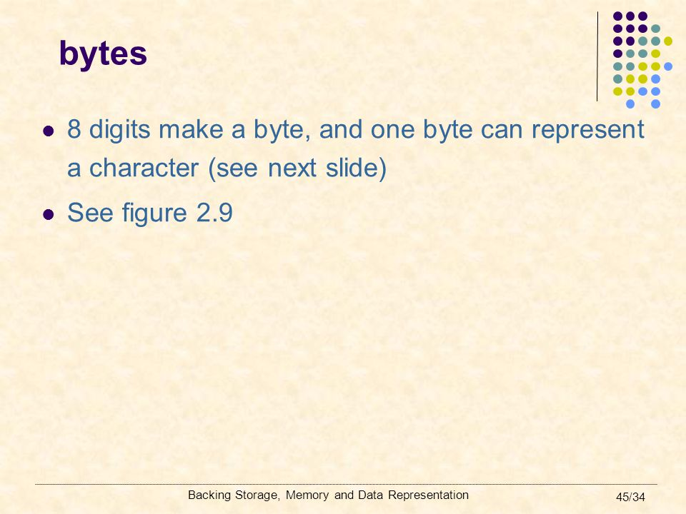 Backing Storage, Memory and Data Representation 45/34 bytes 8 digits make a byte, and one byte can represent a character (see next slide) See figure 2