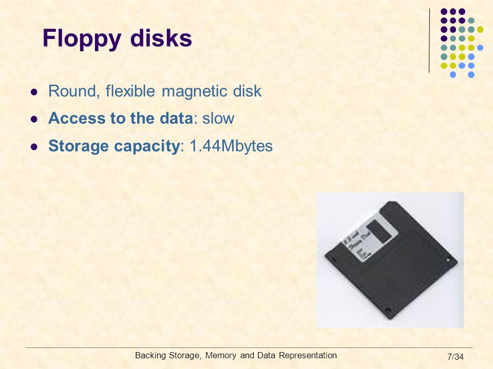 Backing Storage, Memory and Data Representation 18/34 Magnetic tapes Uses: backing up data One type of magnetic tape is the magnetic tape cartridge