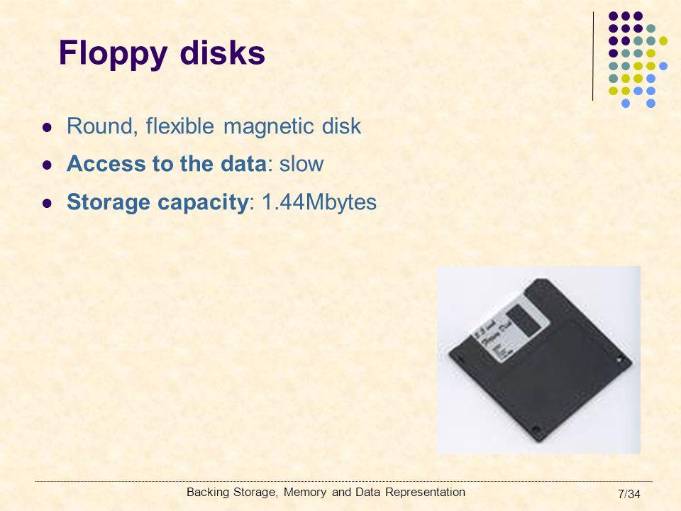 Backing Storage, Memory and Data Representation 28/34 Memory – Main memory May be RAM or ROM.
