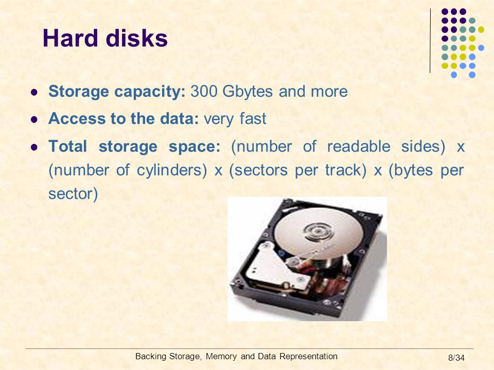 Backing Storage, Memory and Data Representation 39/34 Words, bits and bytes Different computers can access one, two or more bytes of data at one time Byte -> 8 signals which can be either on (0) or off (1) A signal is a Binary digIT (bit) Word length: always is stated in terms of bits