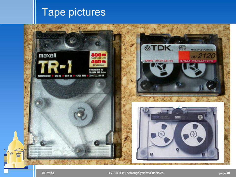 page 186/3/2014 CSE 30341: Operating Systems Principles Tape pictures