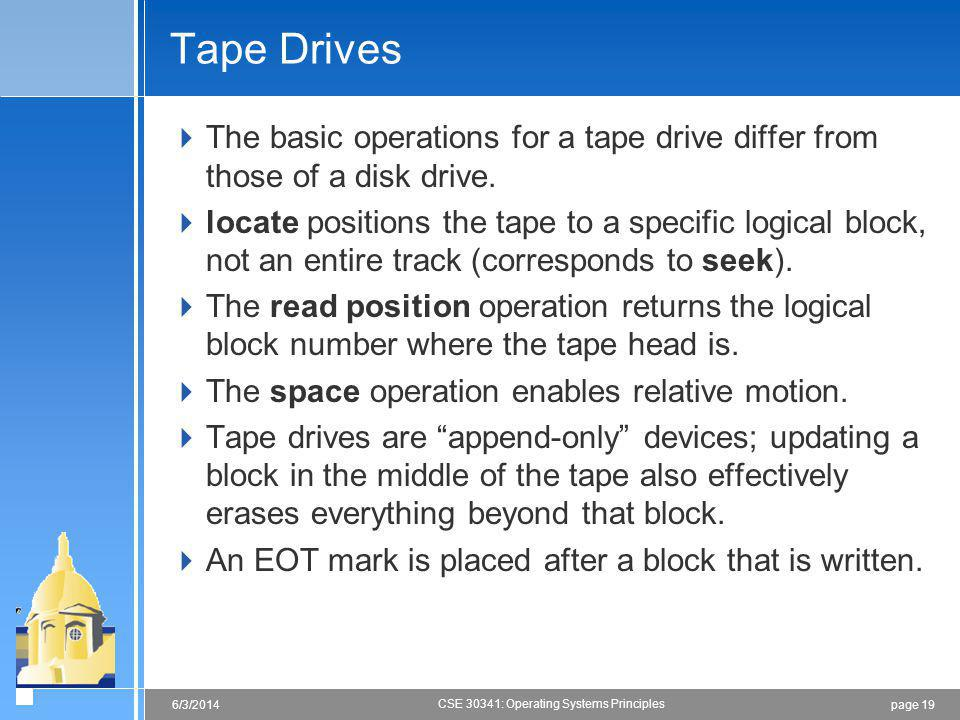 page 196/3/2014 CSE 30341: Operating Systems Principles Tape Drives The basic operations for a tape drive differ from those of a disk drive.