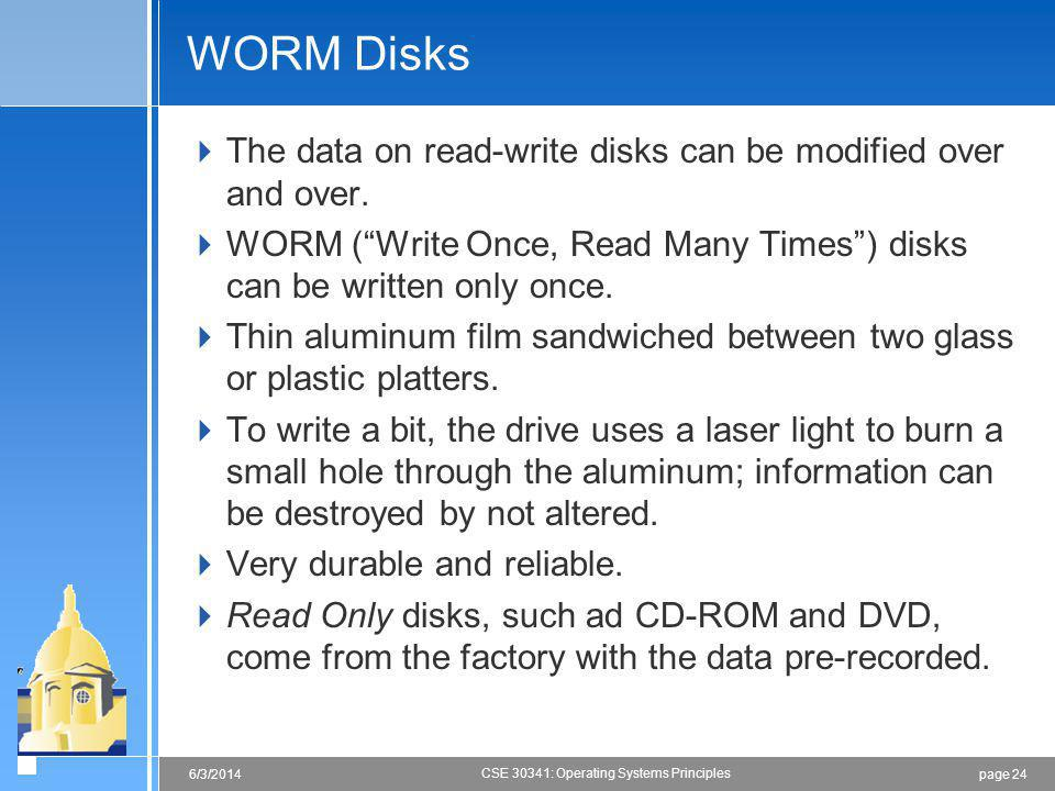 page 246/3/2014 CSE 30341: Operating Systems Principles WORM Disks The data on read-write disks can be modified over and over.