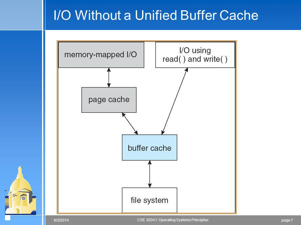 page 76/3/2014 CSE 30341: Operating Systems Principles I/O Without a Unified Buffer Cache