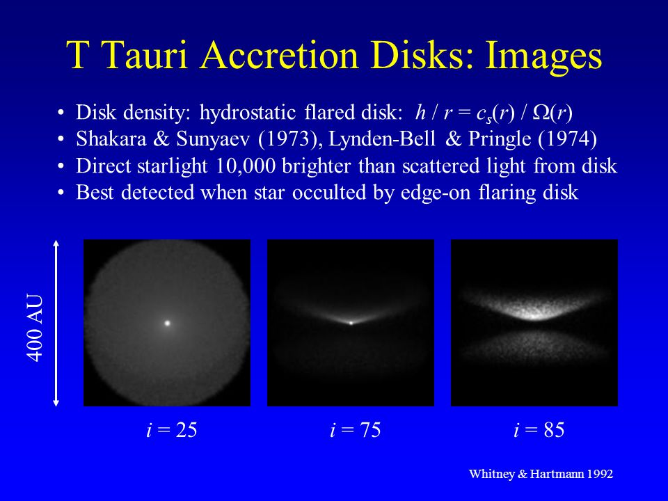 Summary & Future Research Disk Structure & Variability: HH 30, GM Aur Model data with analytic density structures Now testing hydro simulations SIRTF: characterize large numbers of disks Goal: merge radiation transfer & hydro