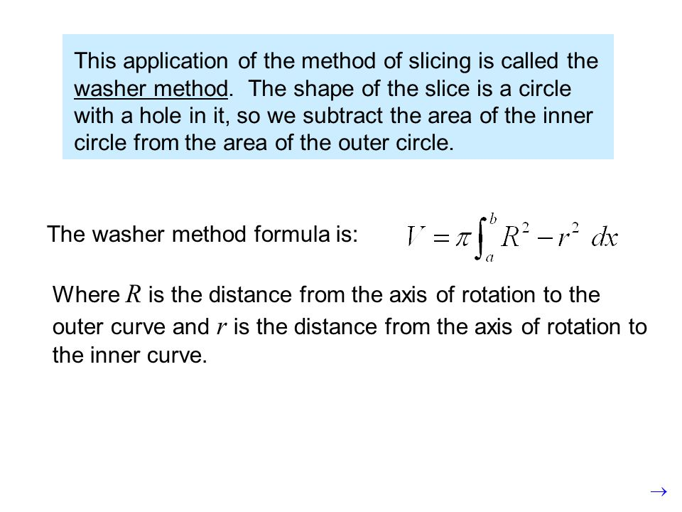 This application of the method of slicing is called the washer method. The shape of the slice is a circle with a hole in it, so we subtract the area o