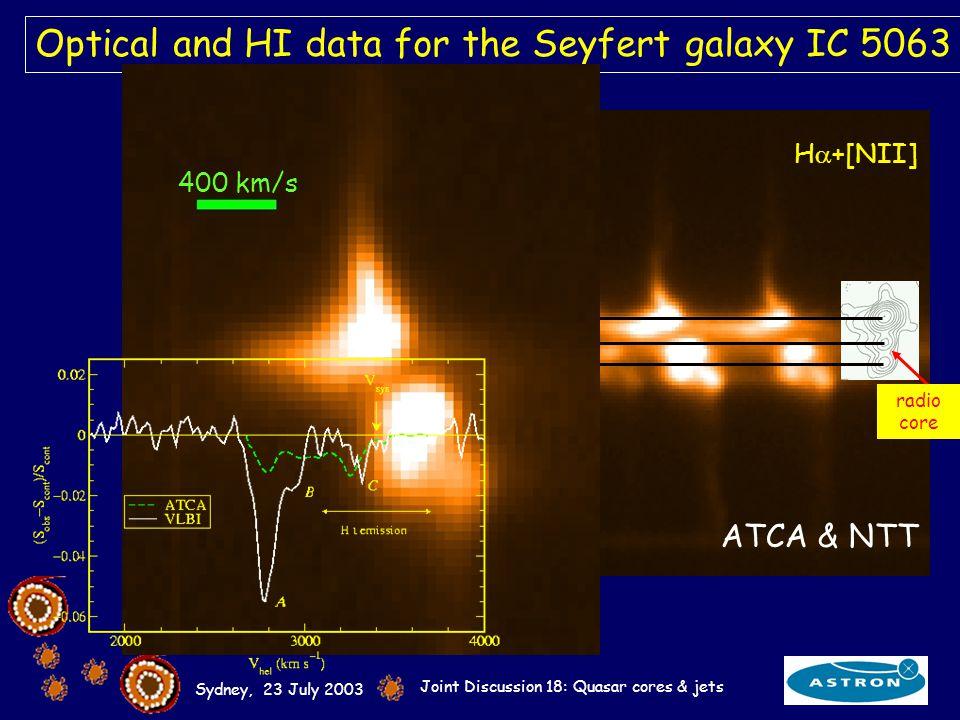 Sydney, 23 July 2003 Joint Discussion 18: Quasar cores & jets Optical and HI data for the Seyfert galaxy IC 5063 [OIII] 4959, 5007 Å H +[NII] ~4arcsec circa 1.3kpc radio core 400 km/s ATCA & NTT