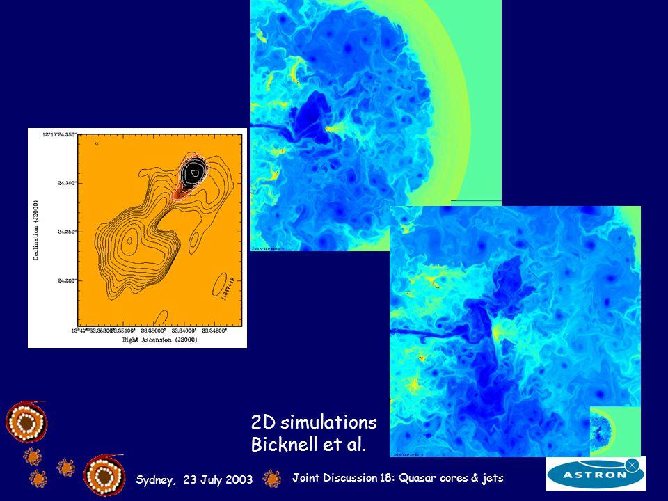 Sydney, 23 July 2003 Joint Discussion 18: Quasar cores & jets 2D simulations Bicknell et al.