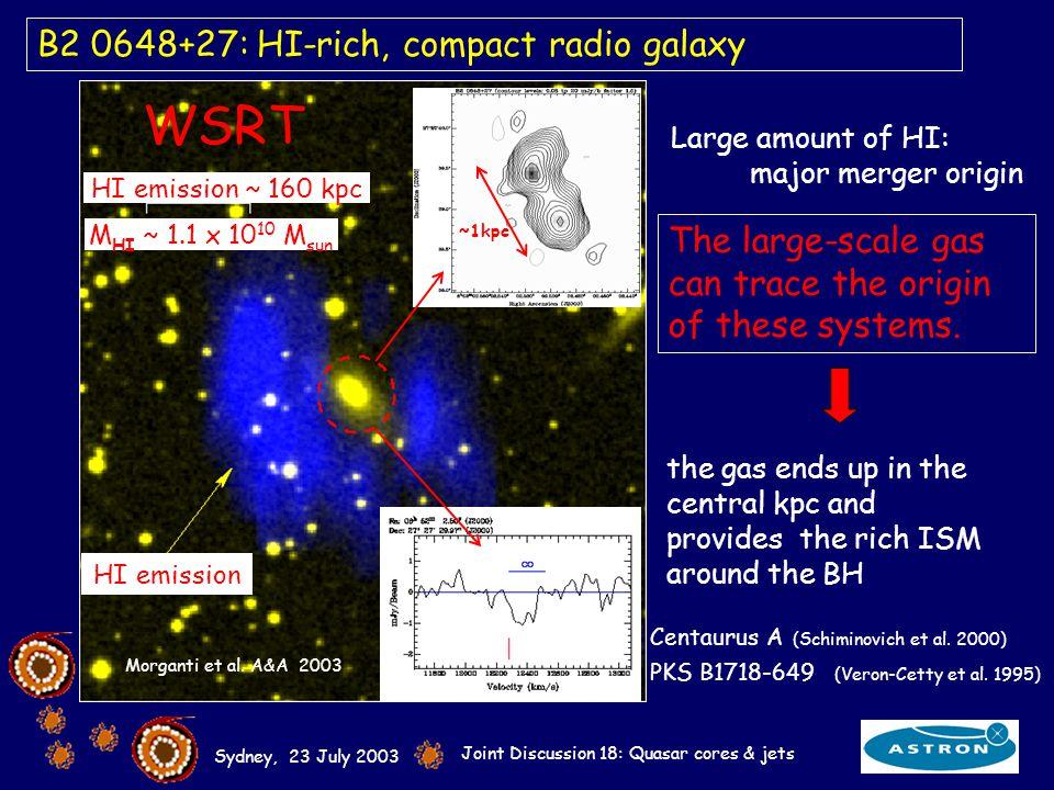 Sydney, 23 July 2003 Joint Discussion 18: Quasar cores & jets HI emission ~ 160 kpc M HI ~ 1.1 x 10 10 M sun B2 0648+27: HI-rich, compact radio galaxy Morganti et al.