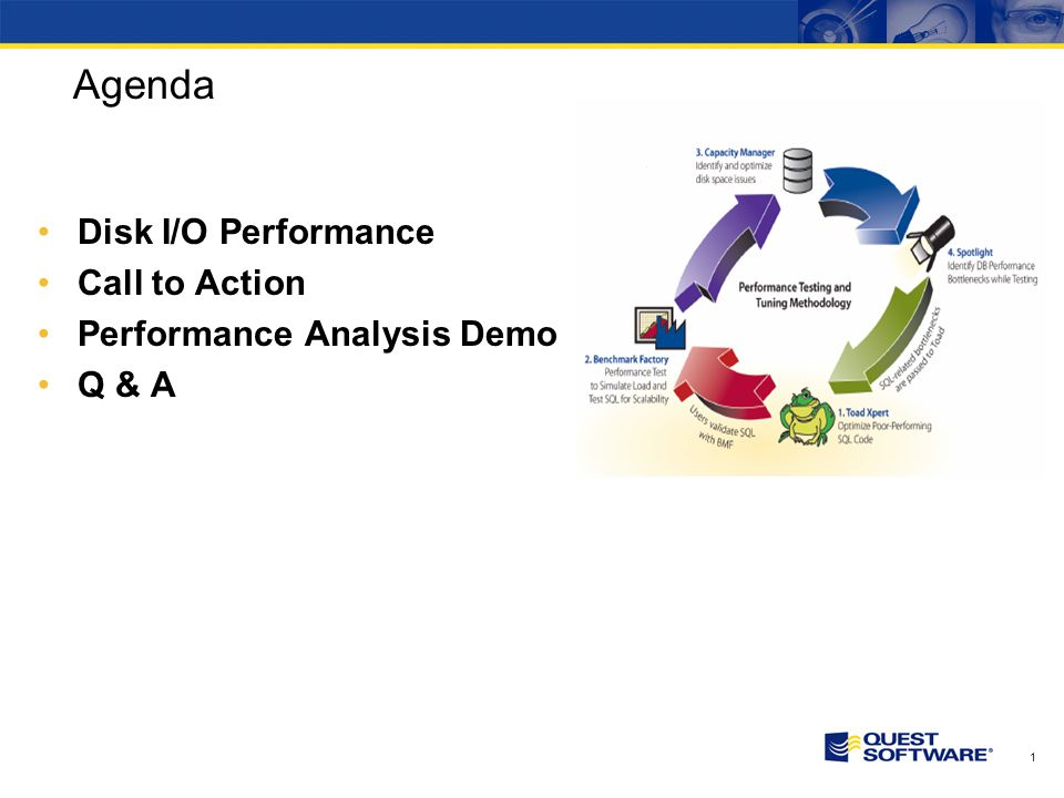 1 Agenda Disk I/O Performance Call to Action Performance Analysis Demo Q & A