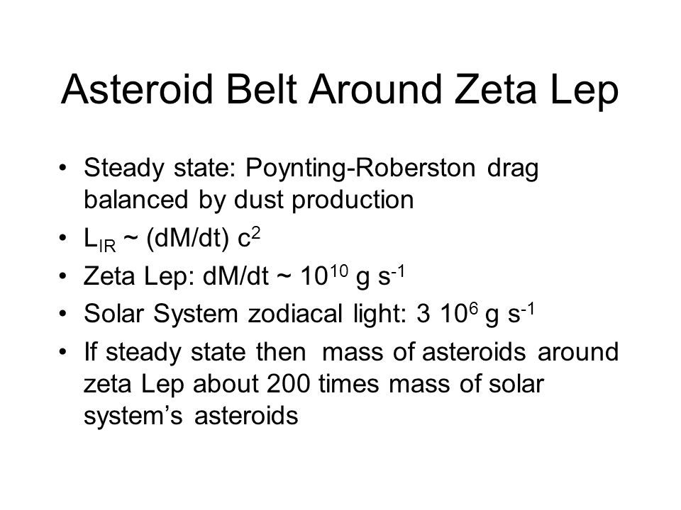 Asteroid Belt Around Zeta Lep Steady state: Poynting-Roberston drag balanced by dust production L IR ~ (dM/dt) c 2 Zeta Lep: dM/dt ~ 10 10 g s -1 Solar System zodiacal light: 3 10 6 g s -1 If steady state then mass of asteroids around zeta Lep about 200 times mass of solar systems asteroids