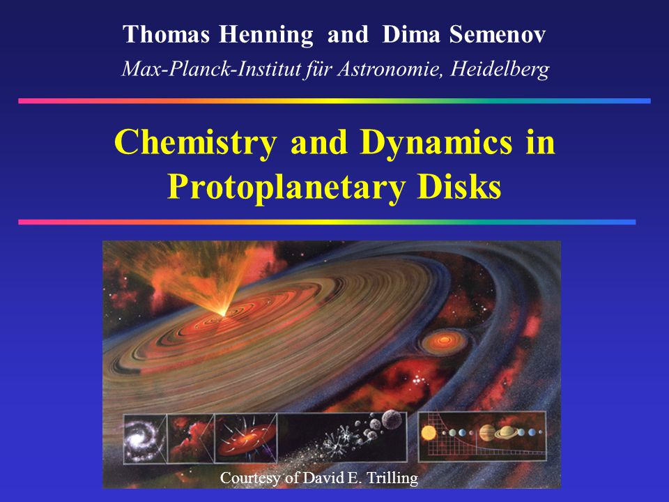 Motivation Initial conditions for planet formation Chemical composition of primitive bodies in the solar system Gas depletion and dissipation in disks – Molecules as tracers of disk history Chemistry – Physical state of the disk (temperature, density, radiation, ionization, transport)