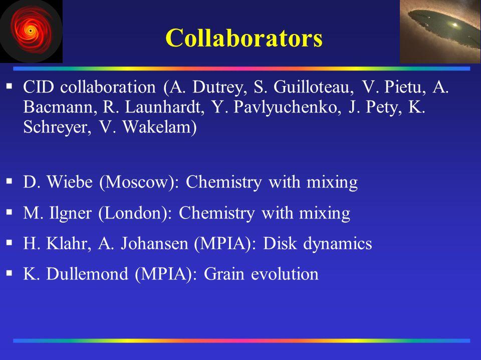 Collaborators CID collaboration (A. Dutrey, S. Guilloteau, V. Pietu, A. Bacmann, R. Launhardt, Y. Pavlyuchenko, J. Pety, K. Schreyer, V. Wakelam) D. W