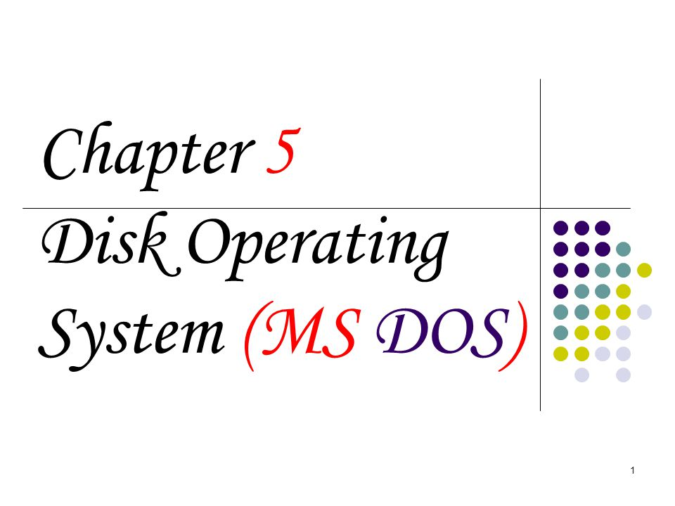 1 Chapter 5 Disk Operating System (MS DOS)