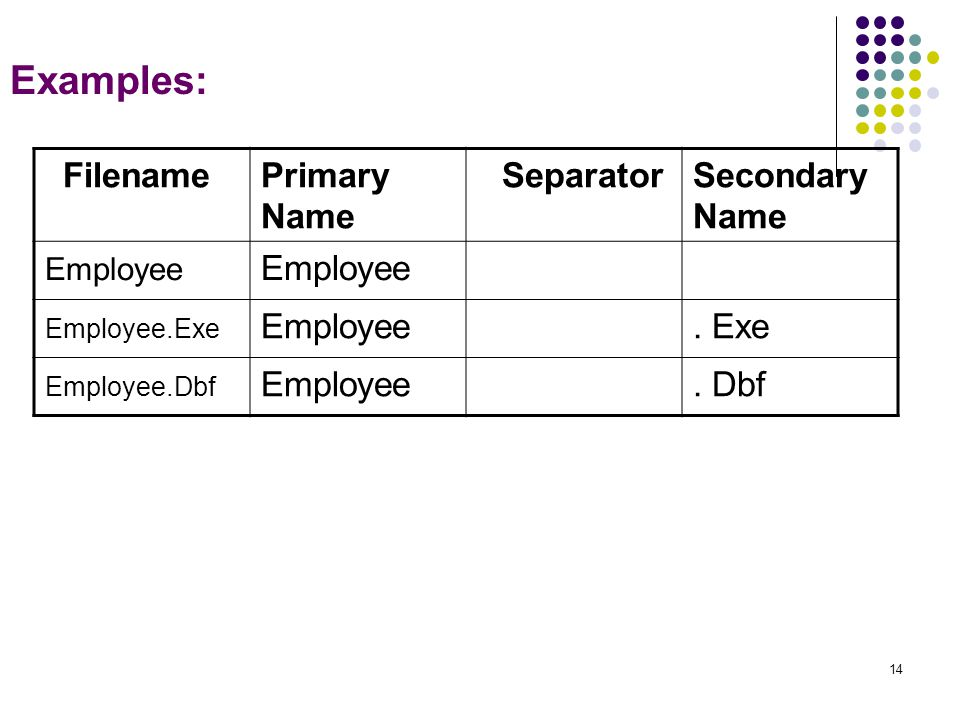 14 Examples: Secondary Name SeparatorPrimary Name Filename Employee.