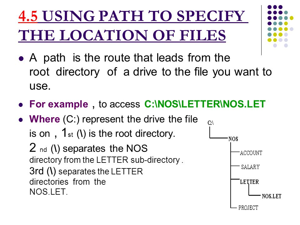 USING PATH TO SPECIFY THE LOCATION OF FILES A path is the route that leads from the root directory of a drive to the file you want to use.