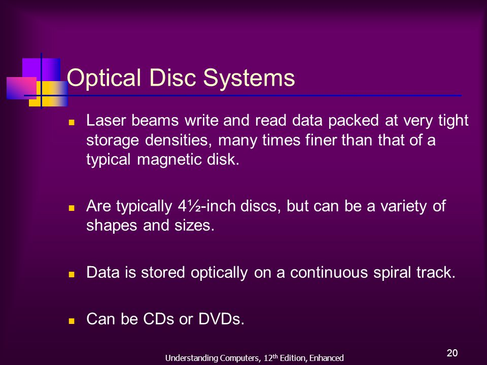 Understanding Computers, 12 th Edition, Enhanced 20 Optical Disc Systems Laser beams write and read data packed at very tight storage densities, many times finer than that of a typical magnetic disk.