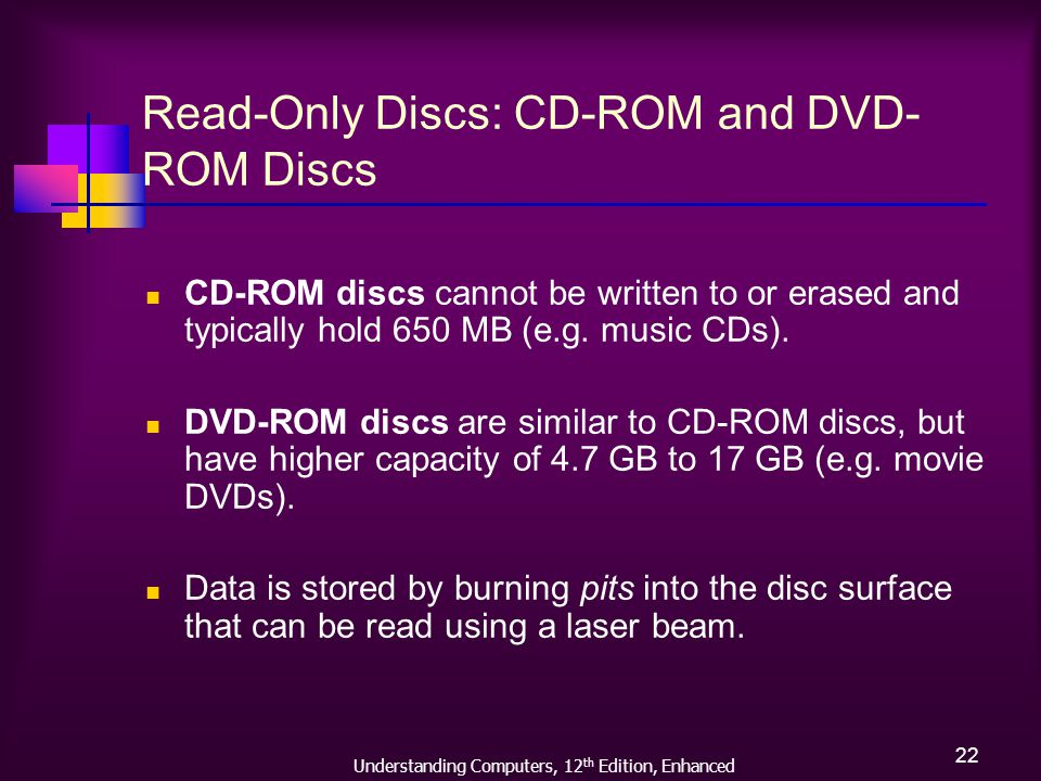 Understanding Computers, 12 th Edition, Enhanced 22 Read-Only Discs: CD-ROM and DVD- ROM Discs CD-ROM discs cannot be written to or erased and typically hold 650 MB (e.g.