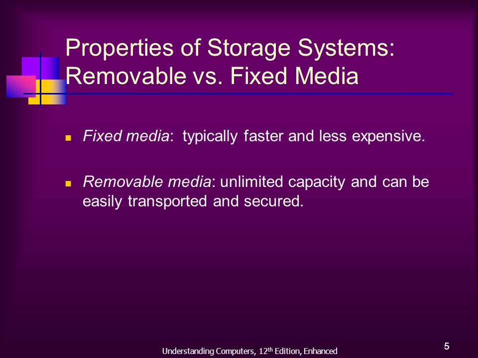 Understanding Computers, 12 th Edition, Enhanced 6 Properties of Storage Systems: Random vs.