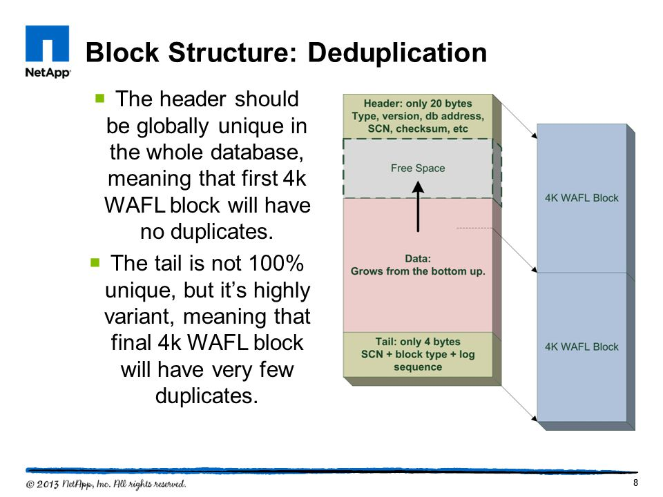 Block Structure: Deduplication 8 The header should be globally unique in the whole database, meaning that first 4k WAFL block will have no duplicates.