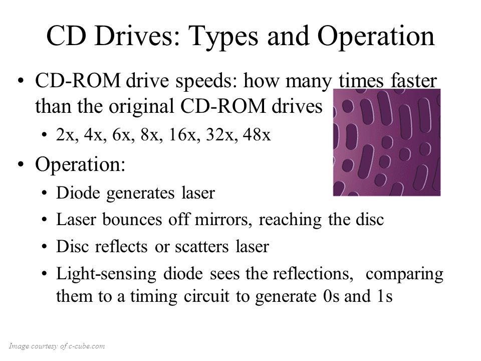 CD Drives: Types and Operation CD-ROM drive speeds: how many times faster than the original CD-ROM drives 2x, 4x, 6x, 8x, 16x, 32x, 48x Operation: Diode generates laser Laser bounces off mirrors, reaching the disc Disc reflects or scatters laser Light-sensing diode sees the reflections, comparing them to a timing circuit to generate 0s and 1s Image courtesy of c-cube.com