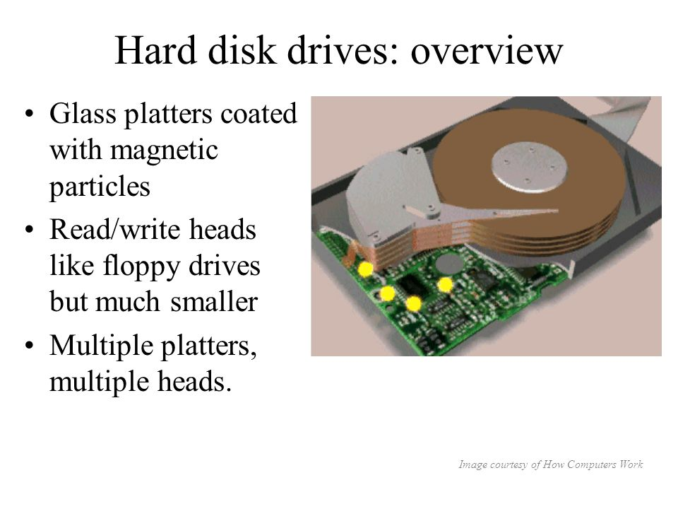 Hard disk drives: overview Glass platters coated with magnetic particles Read/write heads like floppy drives but much smaller Multiple platters, multiple heads.