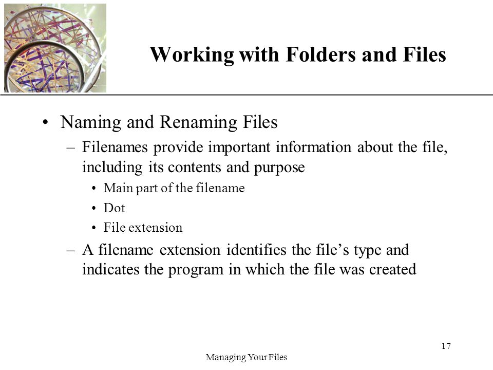 XP Managing Your Files 17 Working with Folders and Files Naming and Renaming Files –Filenames provide important information about the file, including its contents and purpose Main part of the filename Dot File extension –A filename extension identifies the files type and indicates the program in which the file was created
