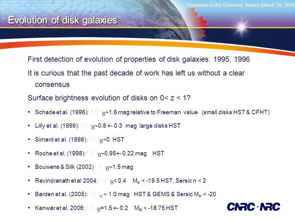 Structures in the Universe, Venice March 28, 2006 First detection of evolution of properties of disk galaxies: 1995, 1996 It is curious that the past decade of work has left us without a clear consensus Surface brightness evolution of disks on 0< z < 1.