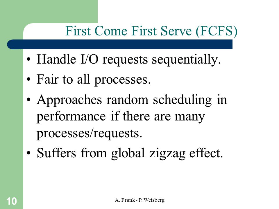 10 A.Frank - P. Weisberg First Come First Serve (FCFS) Handle I/O requests sequentially.